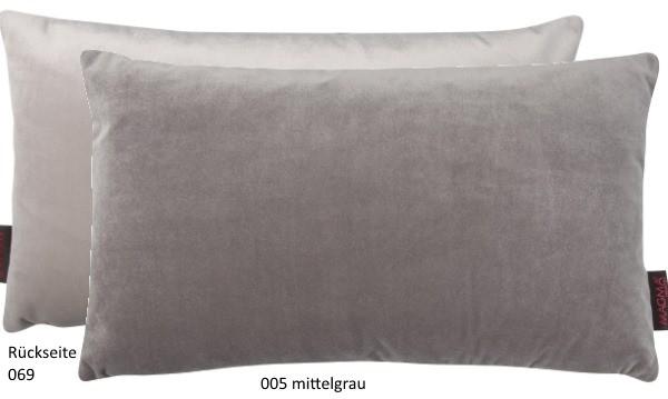 Dekokissen Samt Uni zweifarbig mittelgrau 30x50 cm