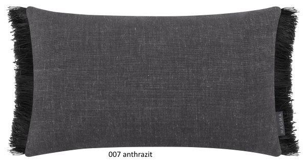 Kissenhülle Anouk mit seitlichen Fransen anthrazit 30x50 cm