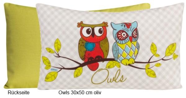 Dekokissen Owls oliv