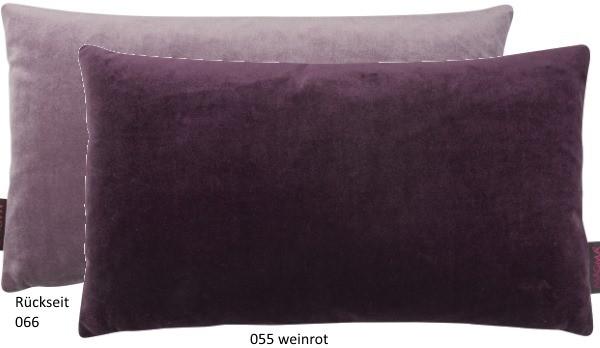 Dekokissen Samt Uni zweifarbig weinrot 30x50 cm