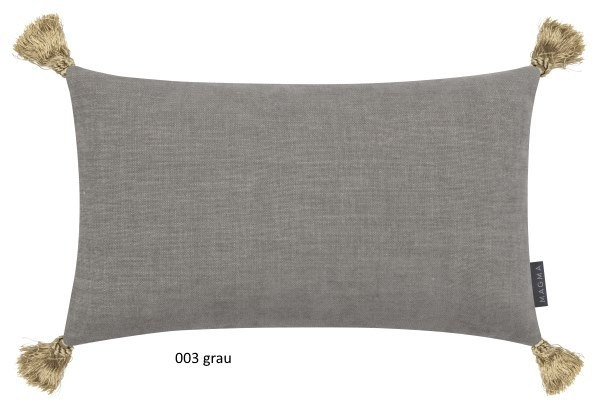 Kissenhülle Anouk mit Quasten grau 30x50 cm