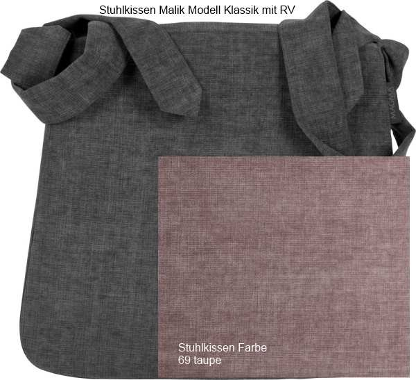 Stuhlkissen Malik Modell Klassik mit RV, Farbe 69 taupe